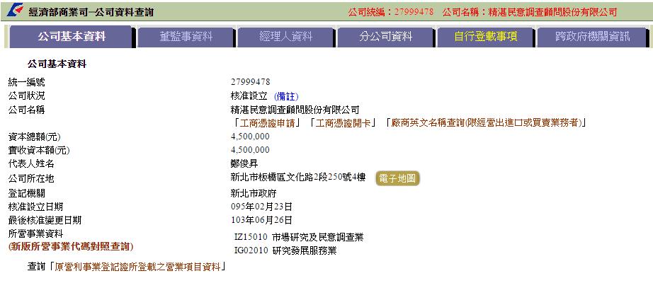 精湛民意調查顧問股份有限公司代表人鄭俊昇