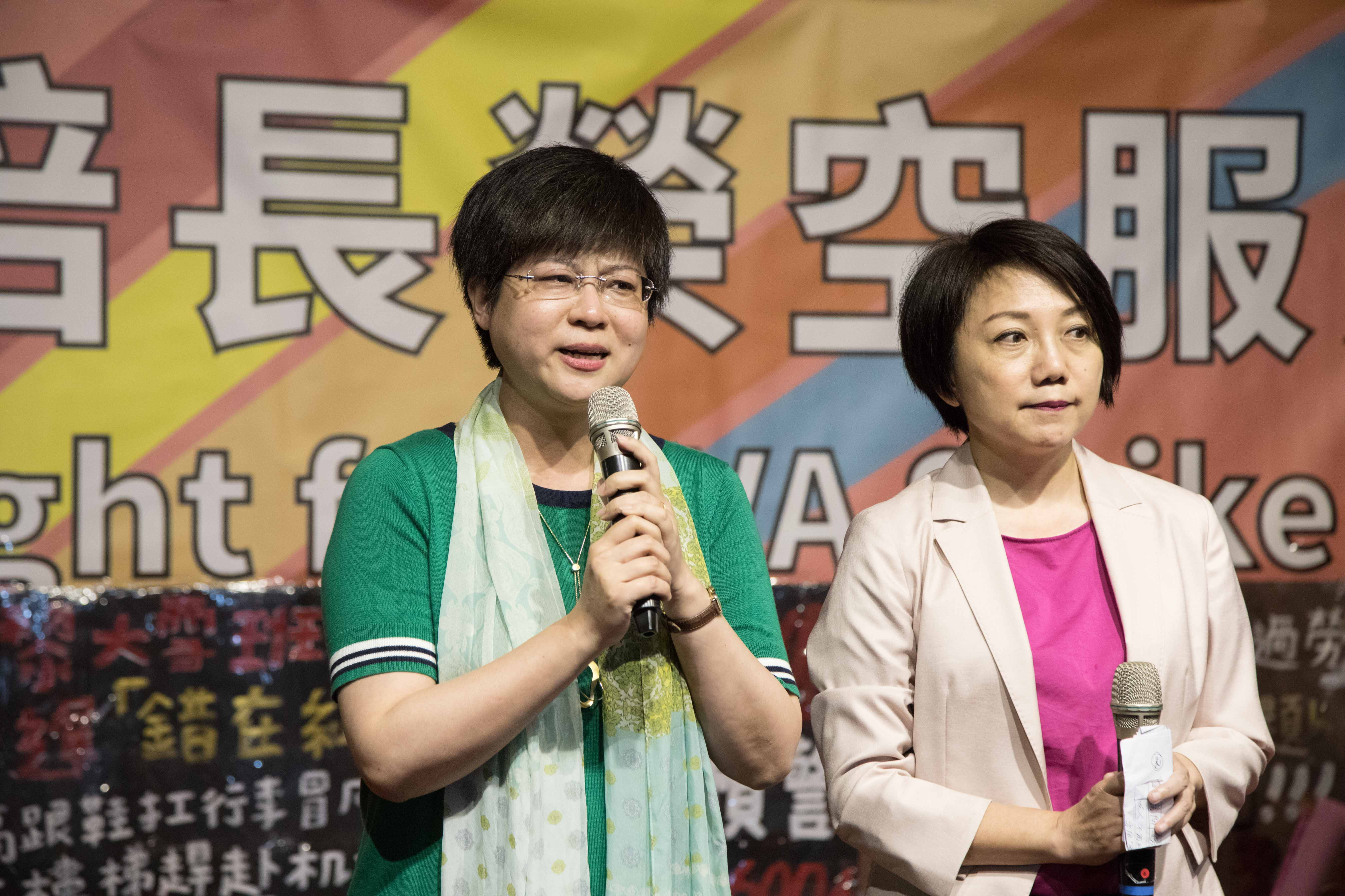 交大教授林志潔(左)、台大社會系副教授、社民黨創辦人范雲(右)